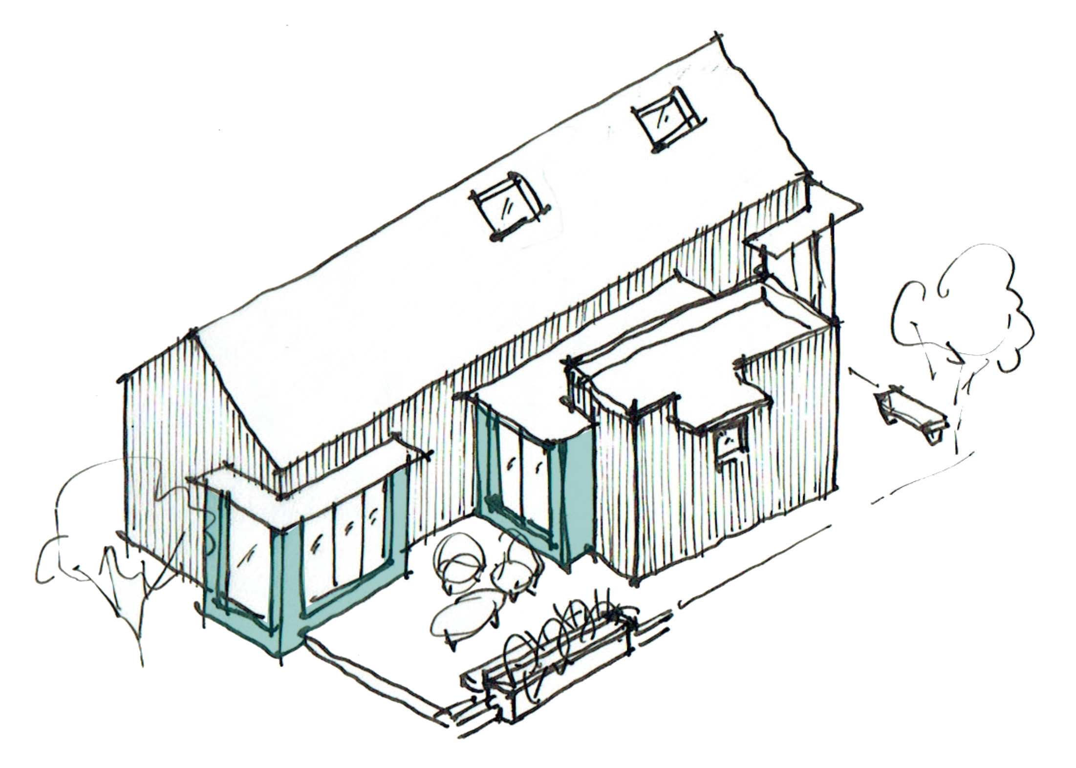 a two-bedroom cottage