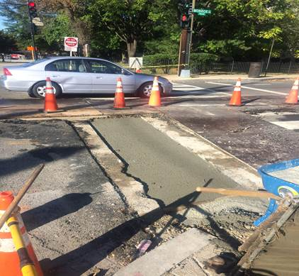 PCC pavement for utility cuts at 9th & Monroe