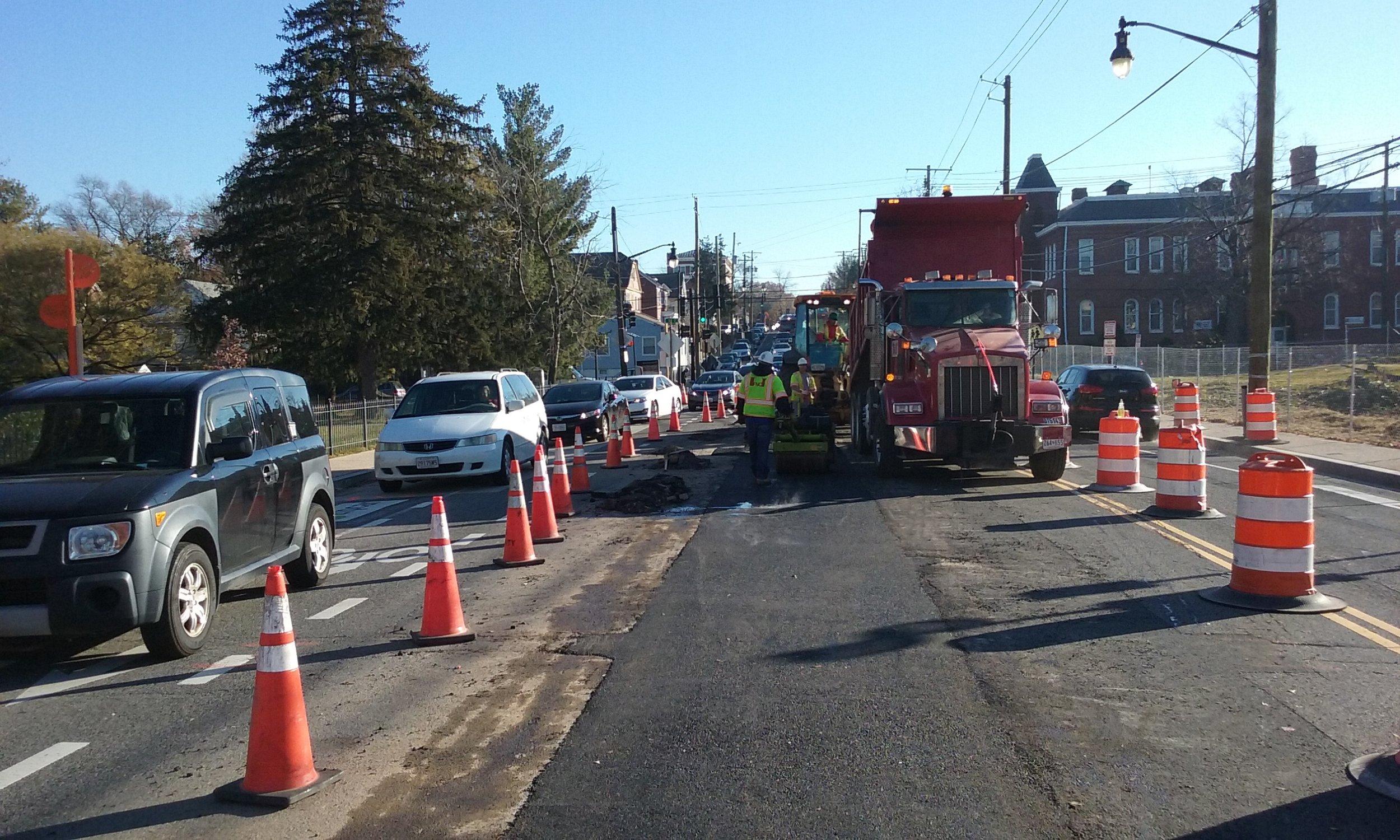 Asphalt pavement for roadway restoration at east of 9th & Monroe