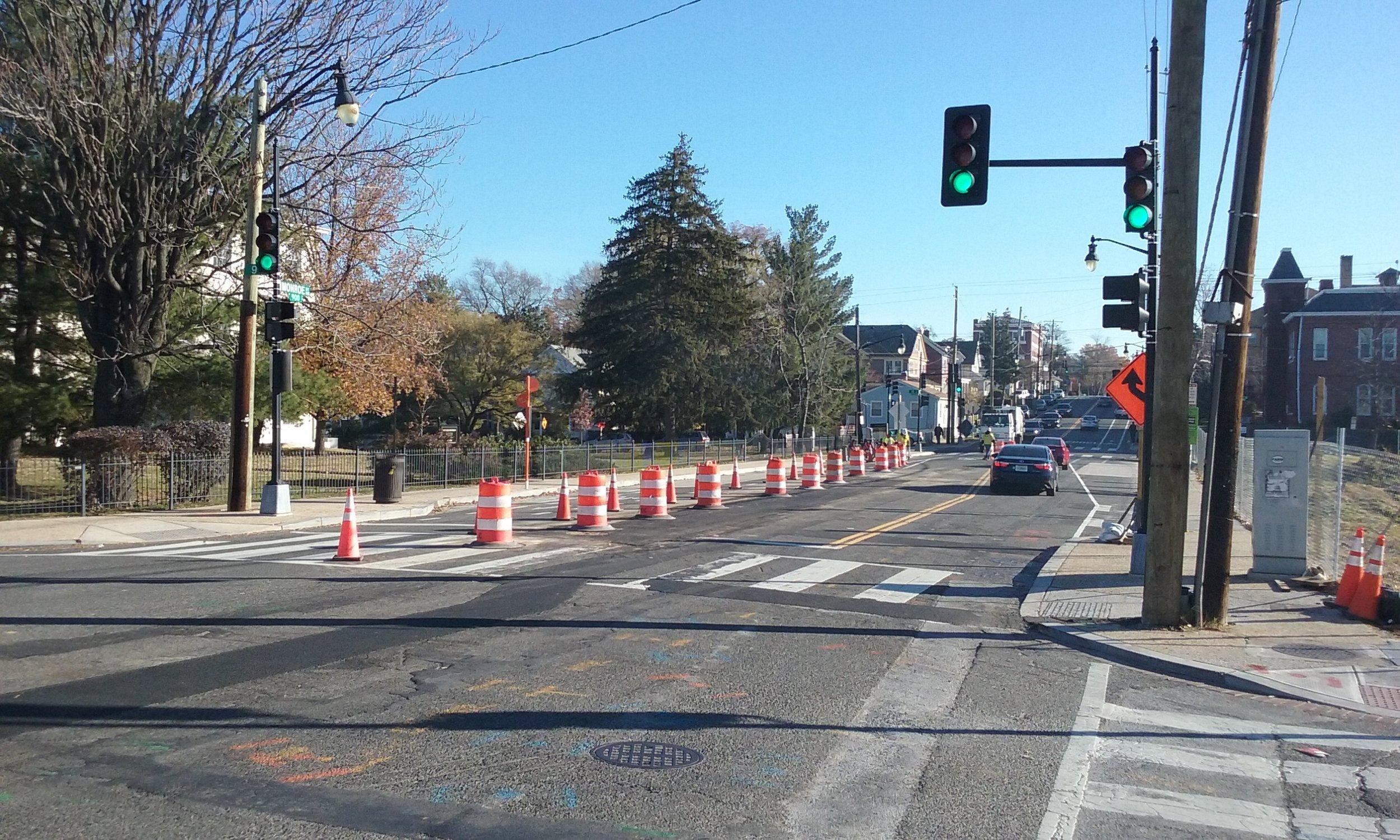 Maintenance of Traffic setup at 9th & Monroe