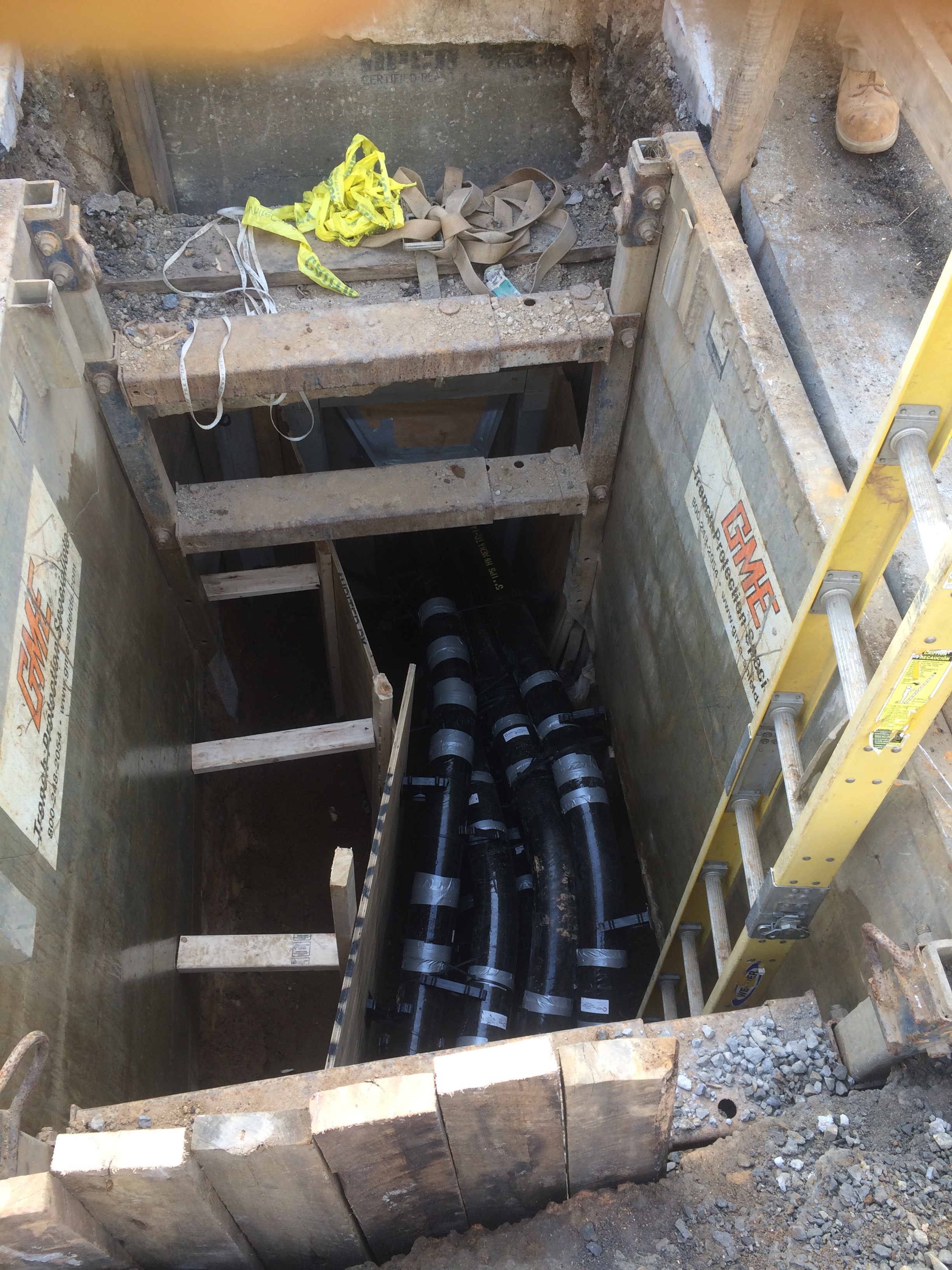 Installed conduits at existing west vault