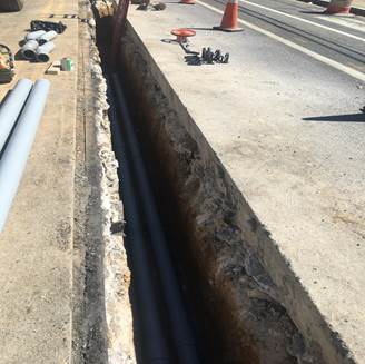 2-way PVC trenching and pipes – east of 9th & Monroe