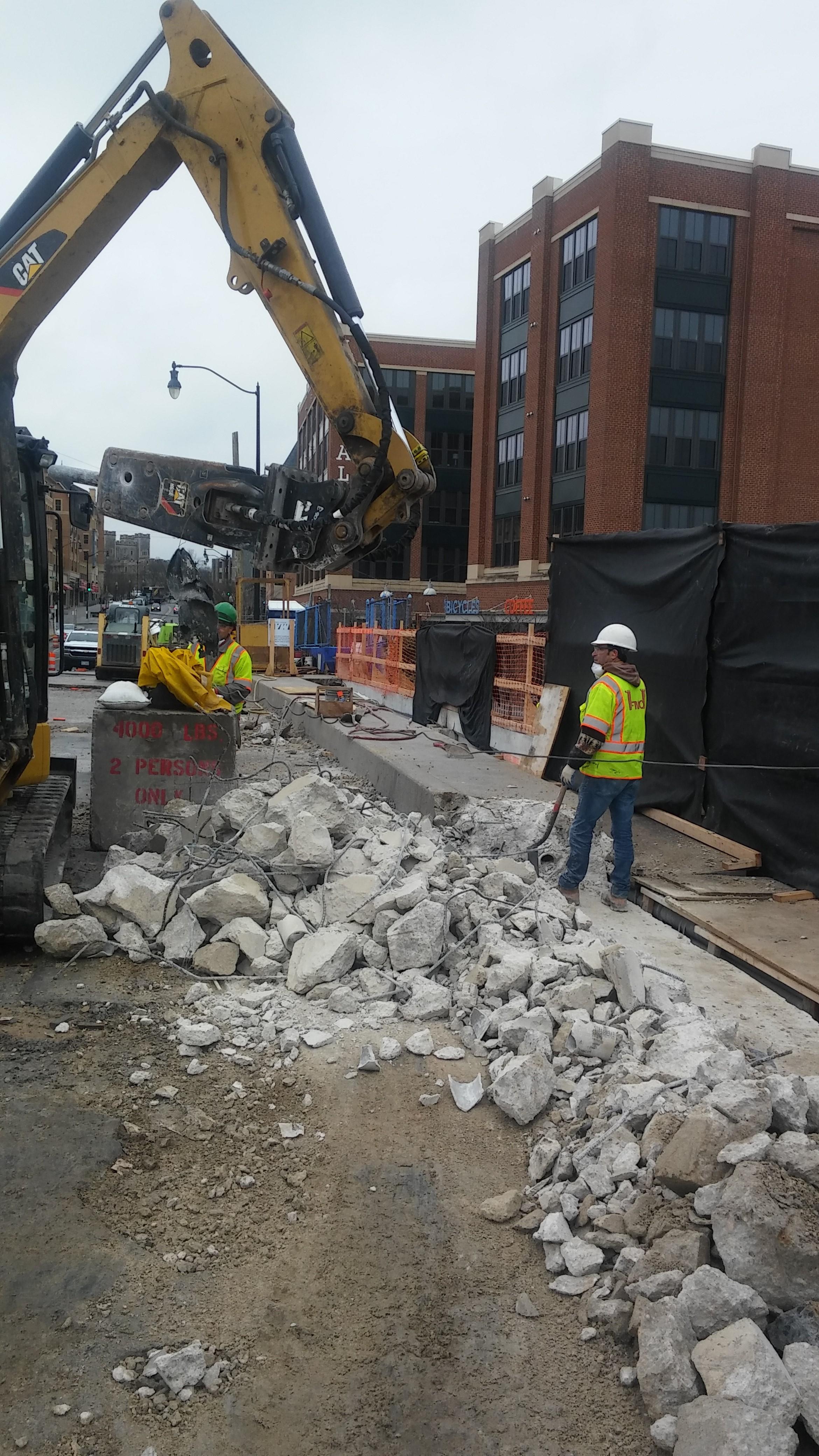 North sidewalk demolition