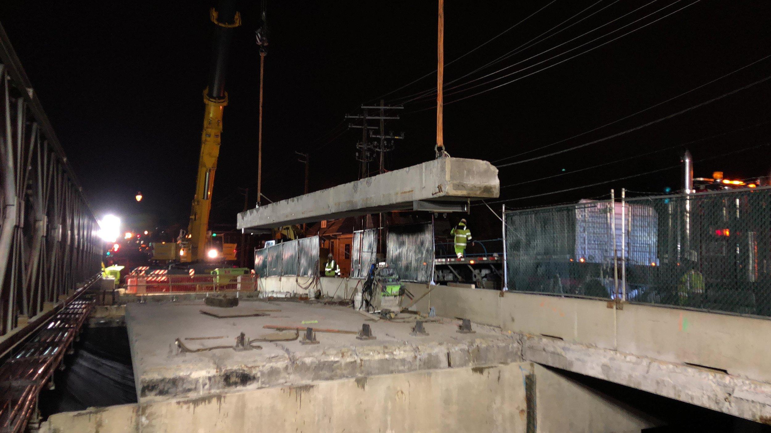 Concrete beam removal over WMATA