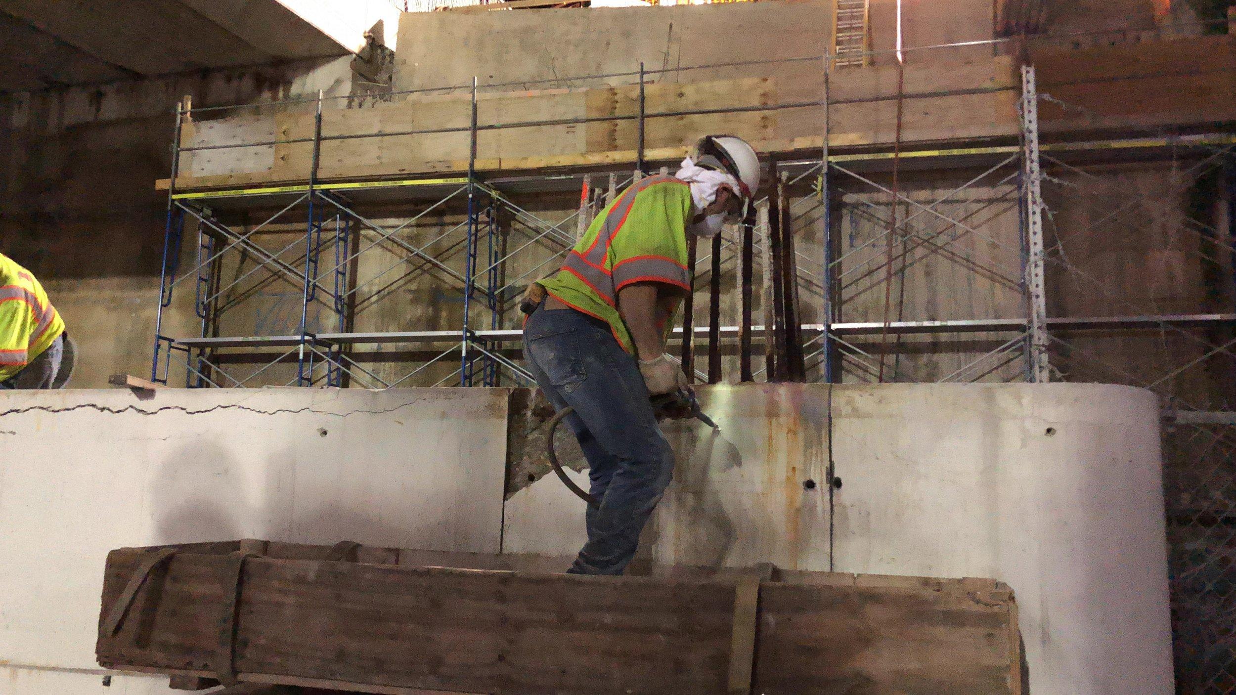 Crash wall pier demolition