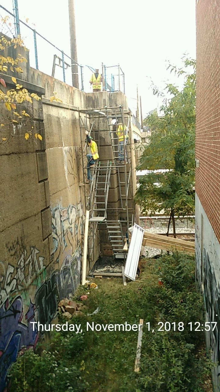 Installing the Access Stairs to CSX Side for Phase 2