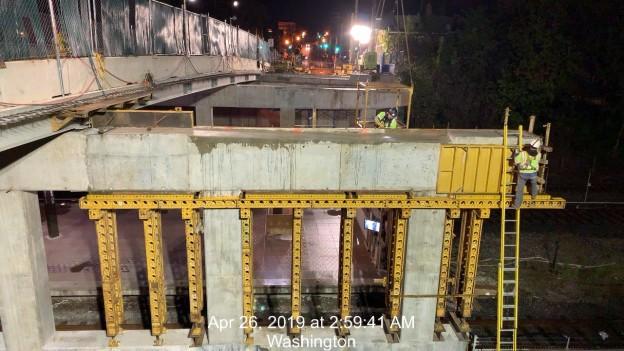 Pier 1 Cap form removal, Monroe St Bridge. Phase 2, South Side