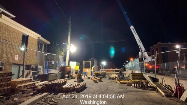 Monroe St Bridge Project: Looking West, Pier Cap 2 form remvoals, Phase 2, South Side
