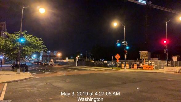 Monroe St NE between 7th & 8th St NE, looking East