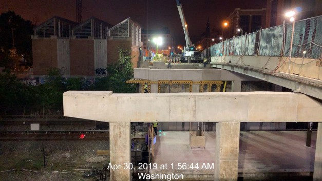 Monroe St Bridge Project: Looking West, Pier Cap 2 form removal, Phase 2, South Side
