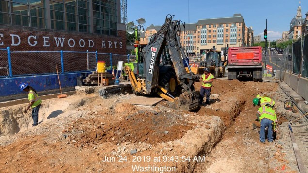 Phase 2: West Side, trench excavation for 6 Way Pepco Conduit