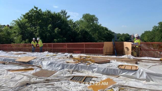 South Side Bridge Parapet form and rebar installation