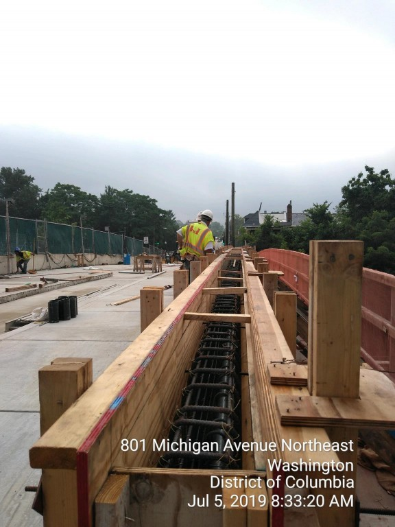 Phase 2: Bridge parapet ongoing form and rebar installation