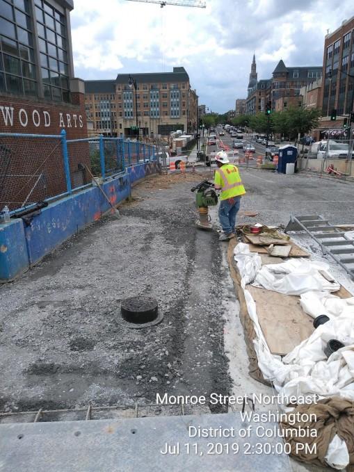 Phase 2: Sidewalk and roadway subbase installation, West side of the Bridge, Phase 2