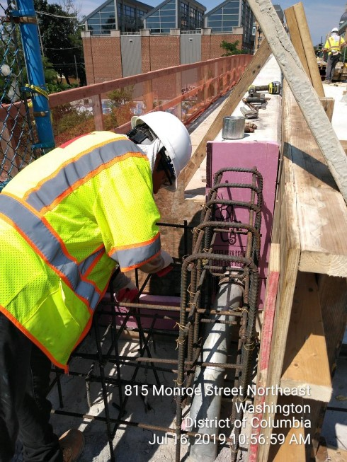 Phase 2: Bridge parapet end treatment, form and rebar installation