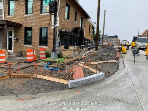 Brick gutter installation between 9th St and East approach, Phase 2