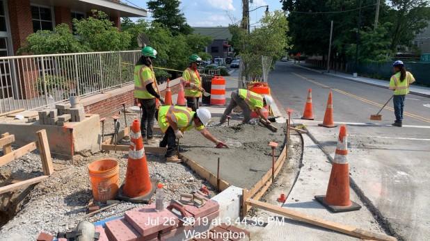 Wheelchair ramp installation @ 8th St intersection, SE corner. Phase 2