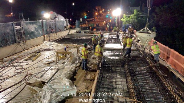 Phase 2: Sidewalk Concrete Placement #1 over Span 1