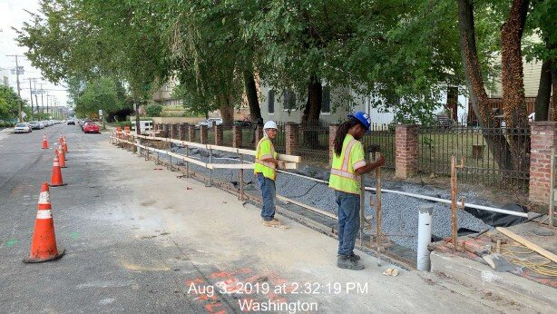 Bioretention installation on 8th St NE bewteen Lawrence St and Monroe St