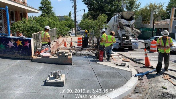 Sidewalk installation at SE corner of Monroe St and 8th St intersection, Phase 2
