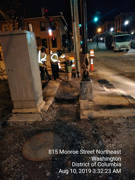 Conduit installation for the traffic signal work at 9th St intersection, Phase 2