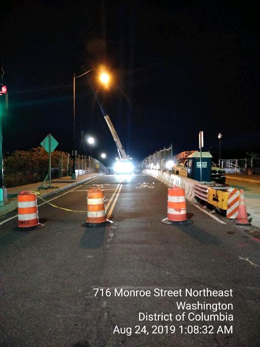 Bridge closure at noght to pain the Northside beam B1