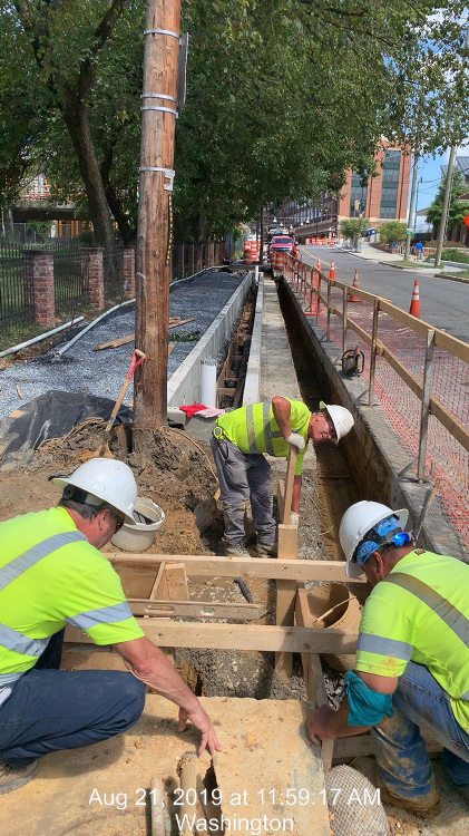 8th St at Lawrence St, Looking North over the bioretention and Light pole foundation work