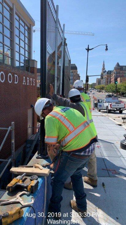 Bridge fence installation, Southwest retaining wall, Phase 2