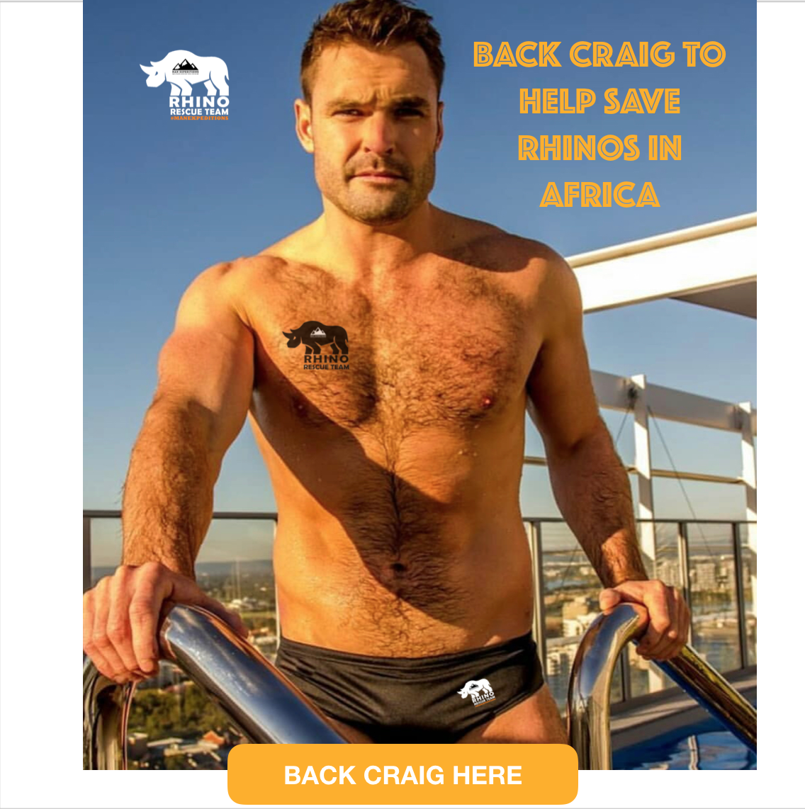 Meet Craig, our   #ManExRhinoRescue   Ambassidor and volunteer. Support Craig with a donation to help fund his costs to come to Africa to help save, protect and rehabilitate baby rhinos injured by poachers. The highest donor at the time Craig's funding goal is reached will have the option to join Craig all expenses paid (flights not included) to join him on the   #ManExRhinoRescue   expedition (See details below).    For every dollar you donate, 70 cents is passed directly through to the rhino rescue efforts of the   #ManExRhinoRescue     Project. The remaining 30 cents is used to pay for things like advertising, payment processing and the costs of making the fundraising campaign a success—including providing the prize.    Man Expeditions will issue anyone who donates over $250 to Craig's campaign with a $500 travel  credit voucher  to use on any Man Expeditions trip (valid for 2 years expiring on August 1, 2021).