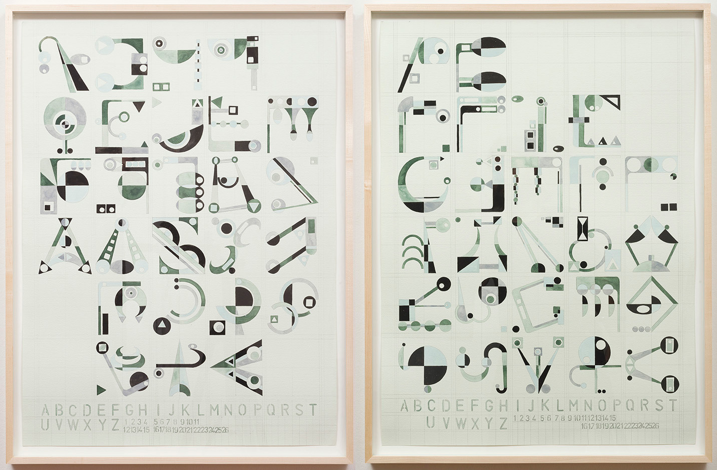 Passing The River, Magickal Alphabet Series, 2014 Pencil and Gouache on Watercolor Paper 44 x 30 inches