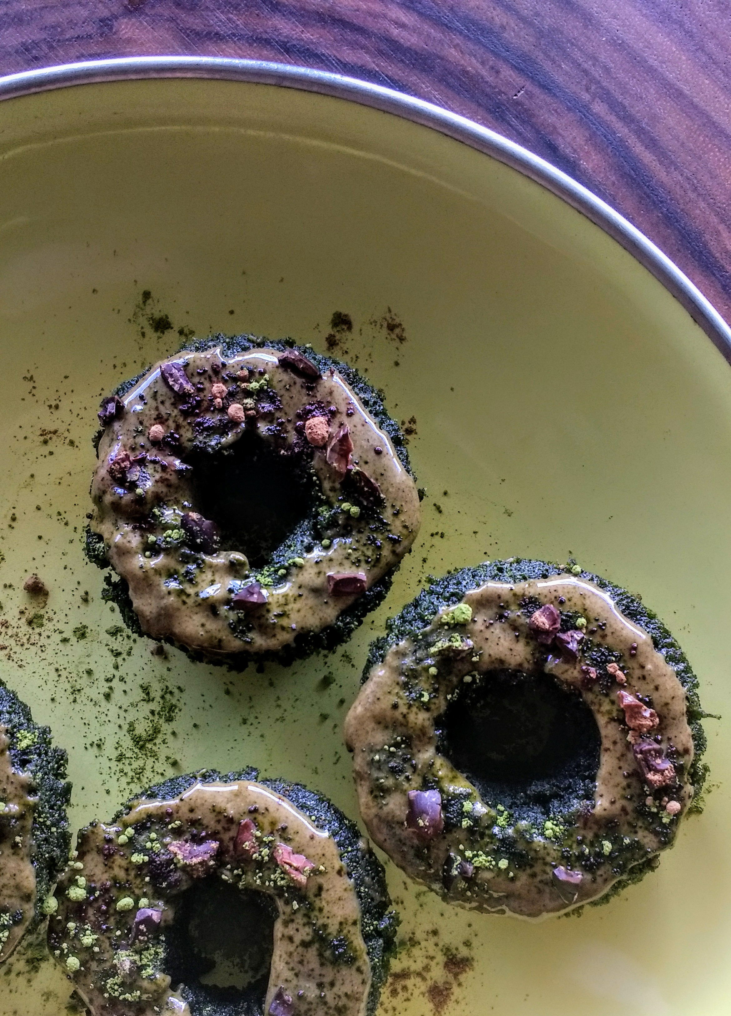 Green Machine Donuts with matcha, cocoa, and spirulina
