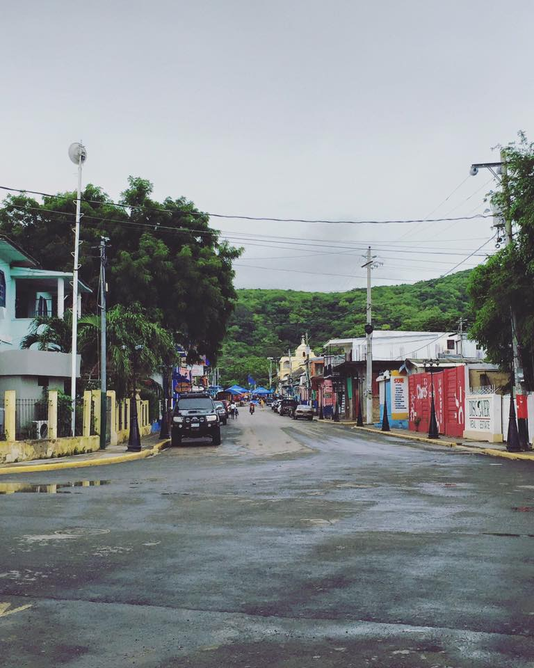 One of the main streets of the city San Juan Del Sur, Nicaragua next to the ATM and the international fishing port.