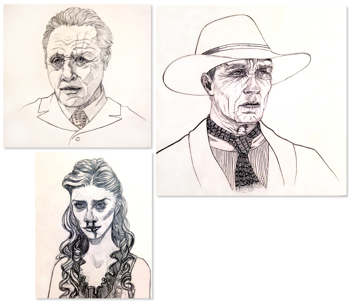 Character sketches from HBO's Westworld