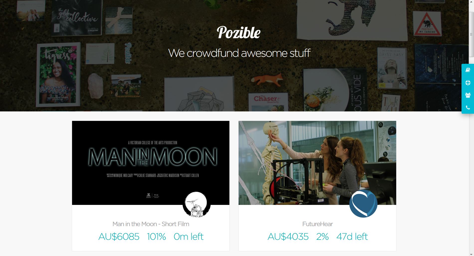 Pozible home page