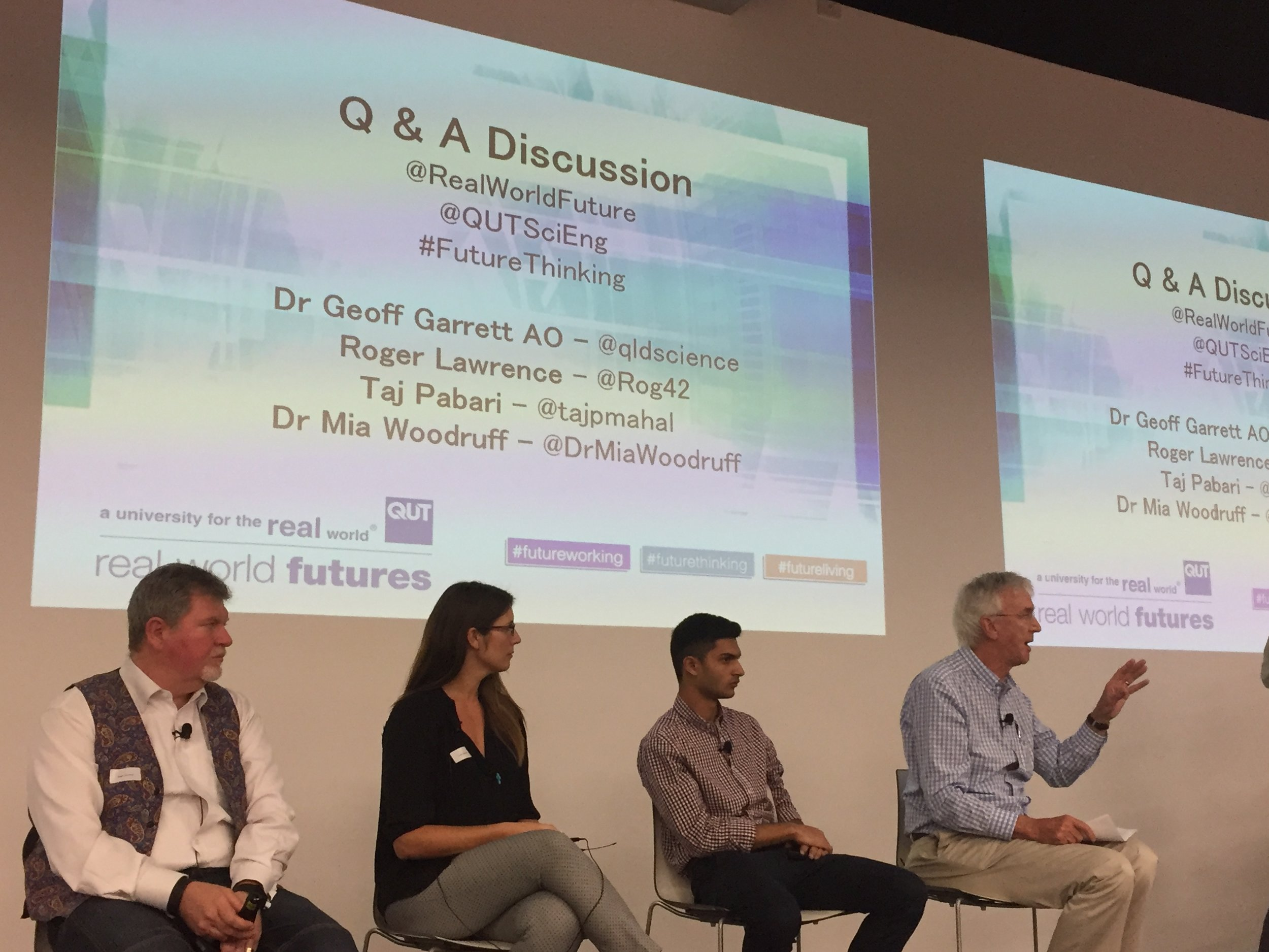 Day 1.Real World Futures Q&A with Roger Lawrence, Dr. Mia Woodruff, Taj Pabari and Dr. Geoff Garret AO.