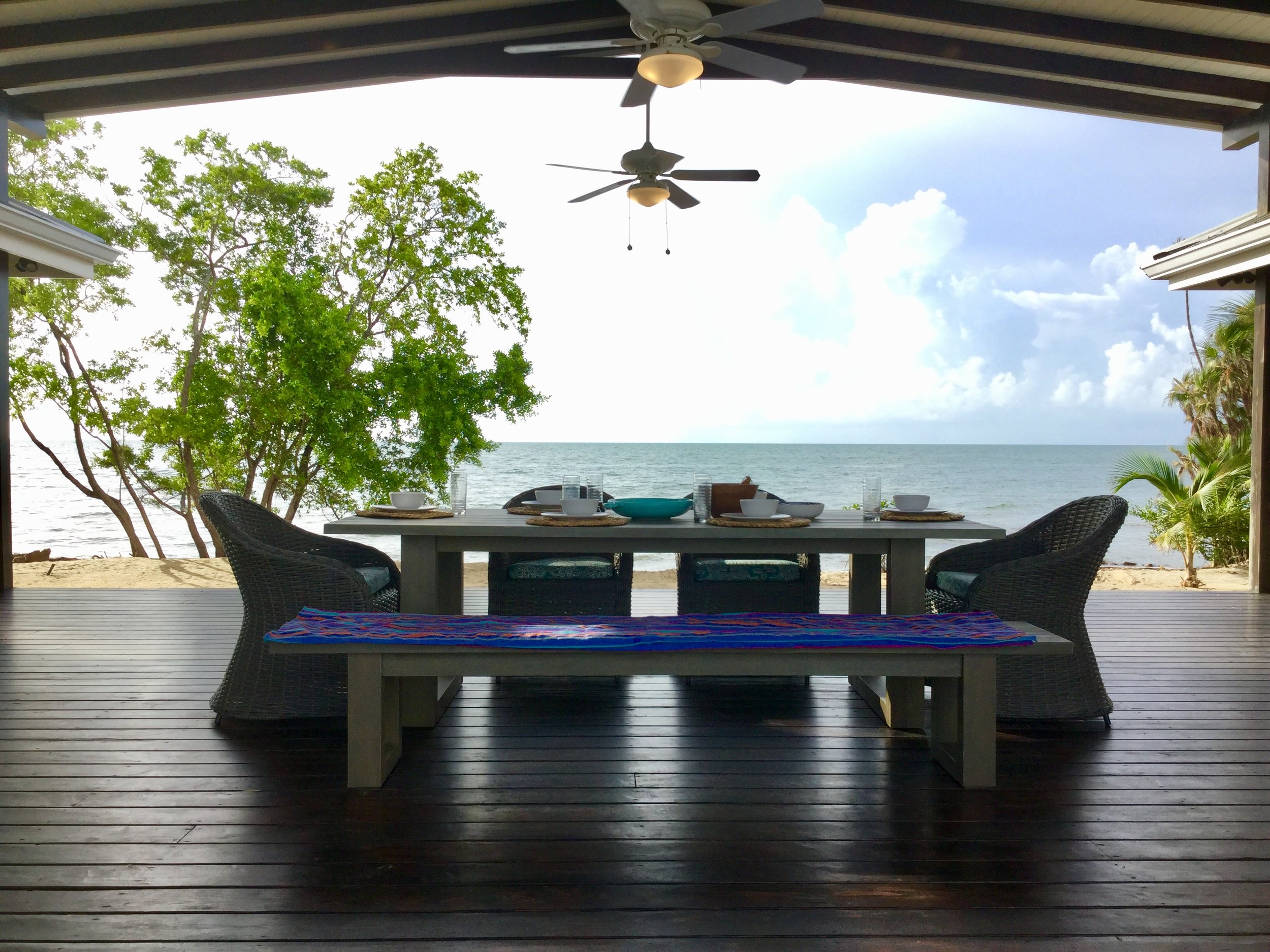 Enjoy our covered 600 Sq Ft indoor-outdoor living space…Perfect for breakfast brunches and cocktails with friends in the afternoon….tropical beach and sunset lagoon views are included.