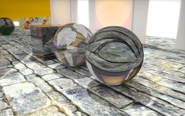 Spheres on cobblestones.