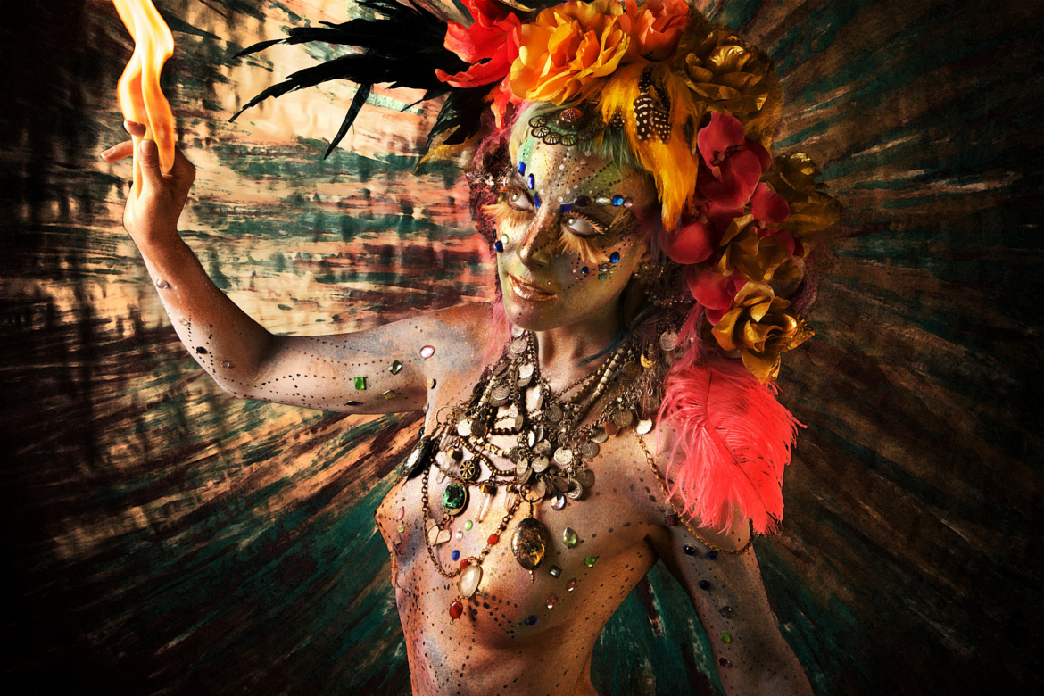 "Fine Art Series   ""Myths""   Mythological creatures made in collaboration with body painter  Piyali Banerji   Involvement: Art direction, photography, set design, post production"