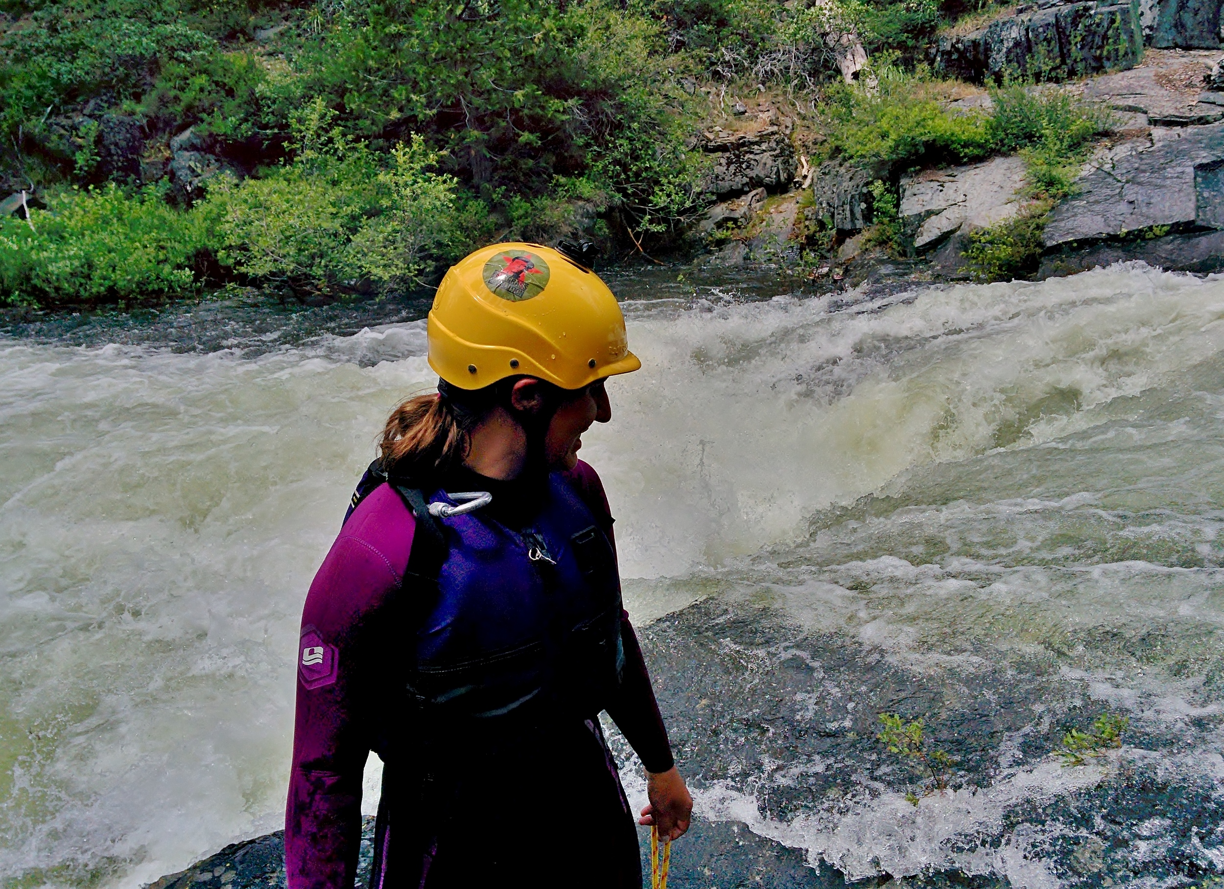 Emily setting safety in the first gorge
