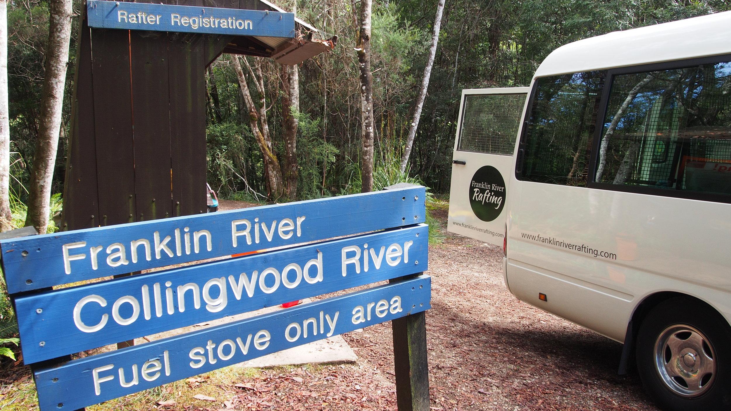 Franklin River Rafting, At the Collingwood bridge where it all beginns.JPG