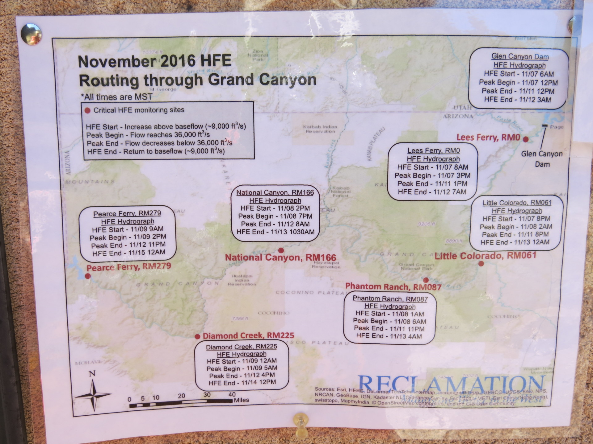 We took a picture of the HFE sign posted at phantom Ranch which is ** miles downstream from Glen Canyon Dam.