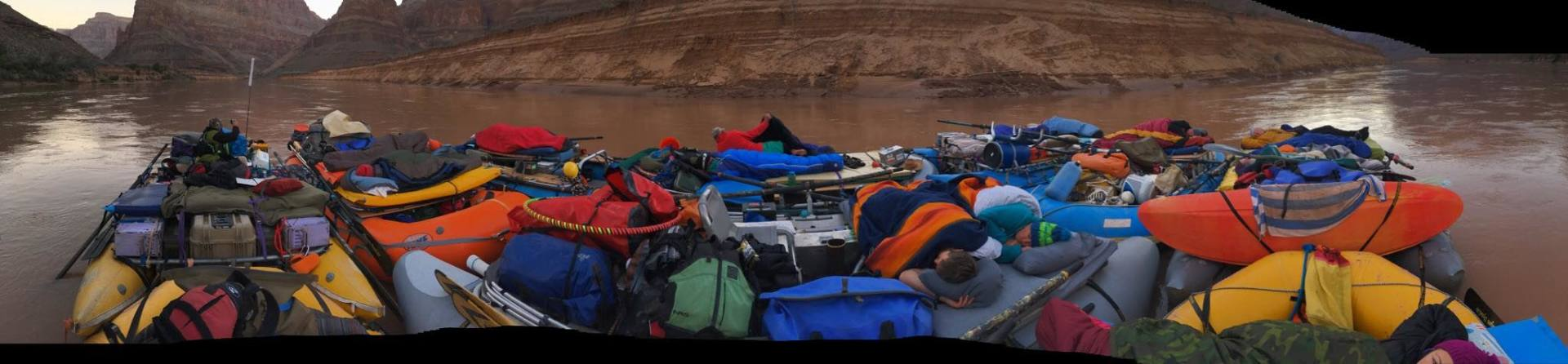Early morning view of our flotilla, Derek and I are under the blue and orange blanket just right of center