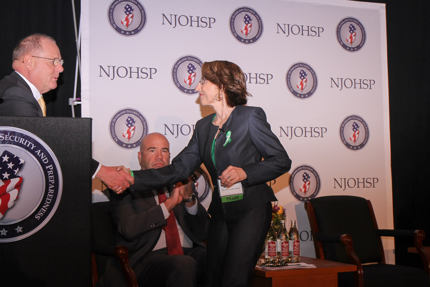 Colonel Rick Fuentes, Superintendent of the New Jersey State Police,  welcomes Deb to speak at NJOHSP.
