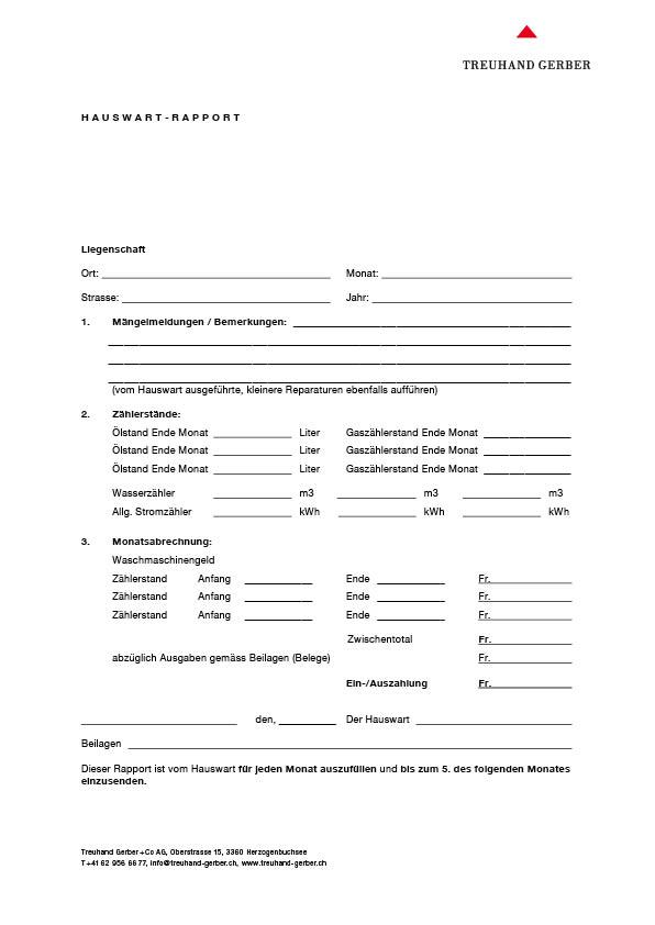 Formular für Hauswartrapport   Download PDF