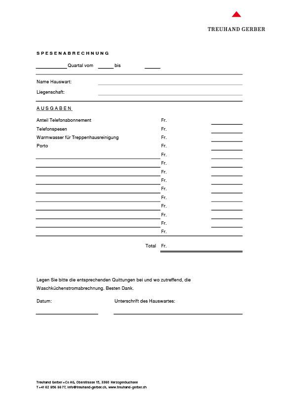 Formular für Spesenabrechnung Hauswart   Download PDF