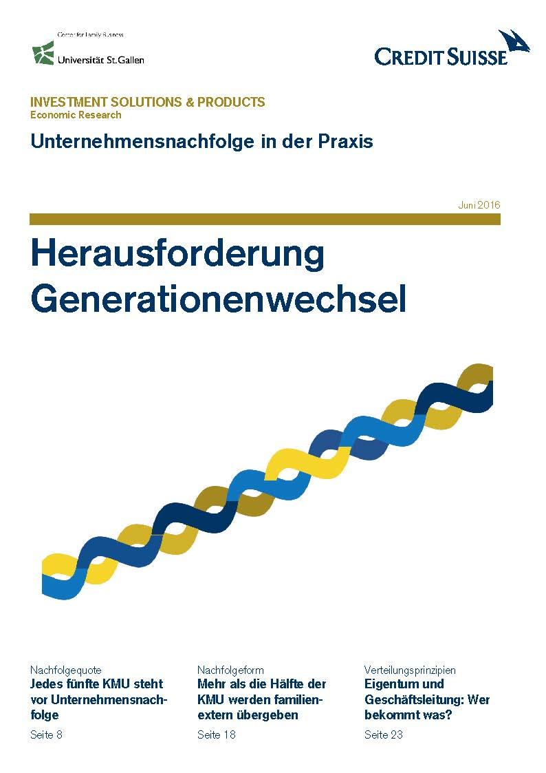 Studie «Herausforderung Generationenwechsel» Quelle: Credit Suisse   Download PDF