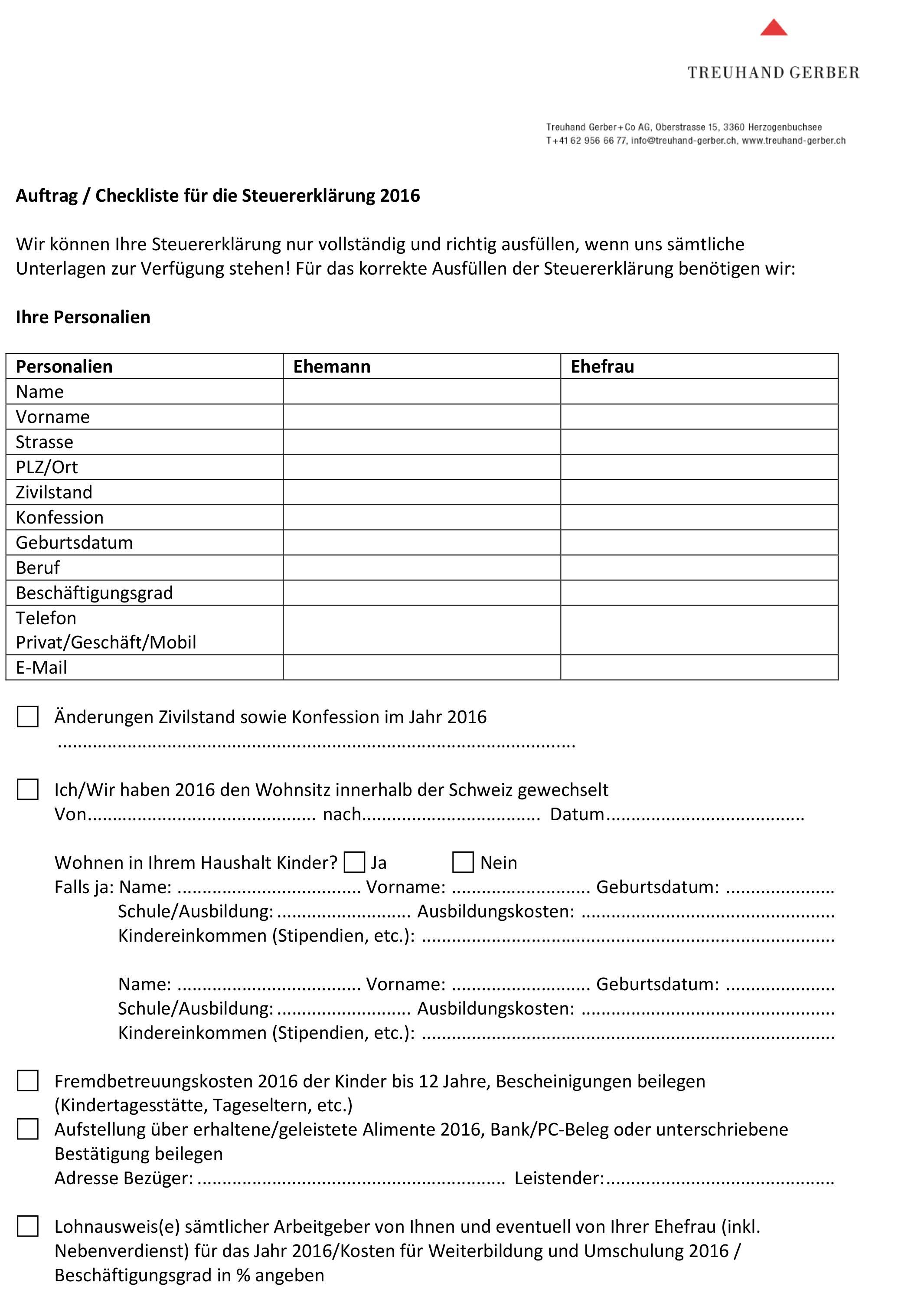 Merkblatt / Checkliste für die Steuererklärung   Download PDF