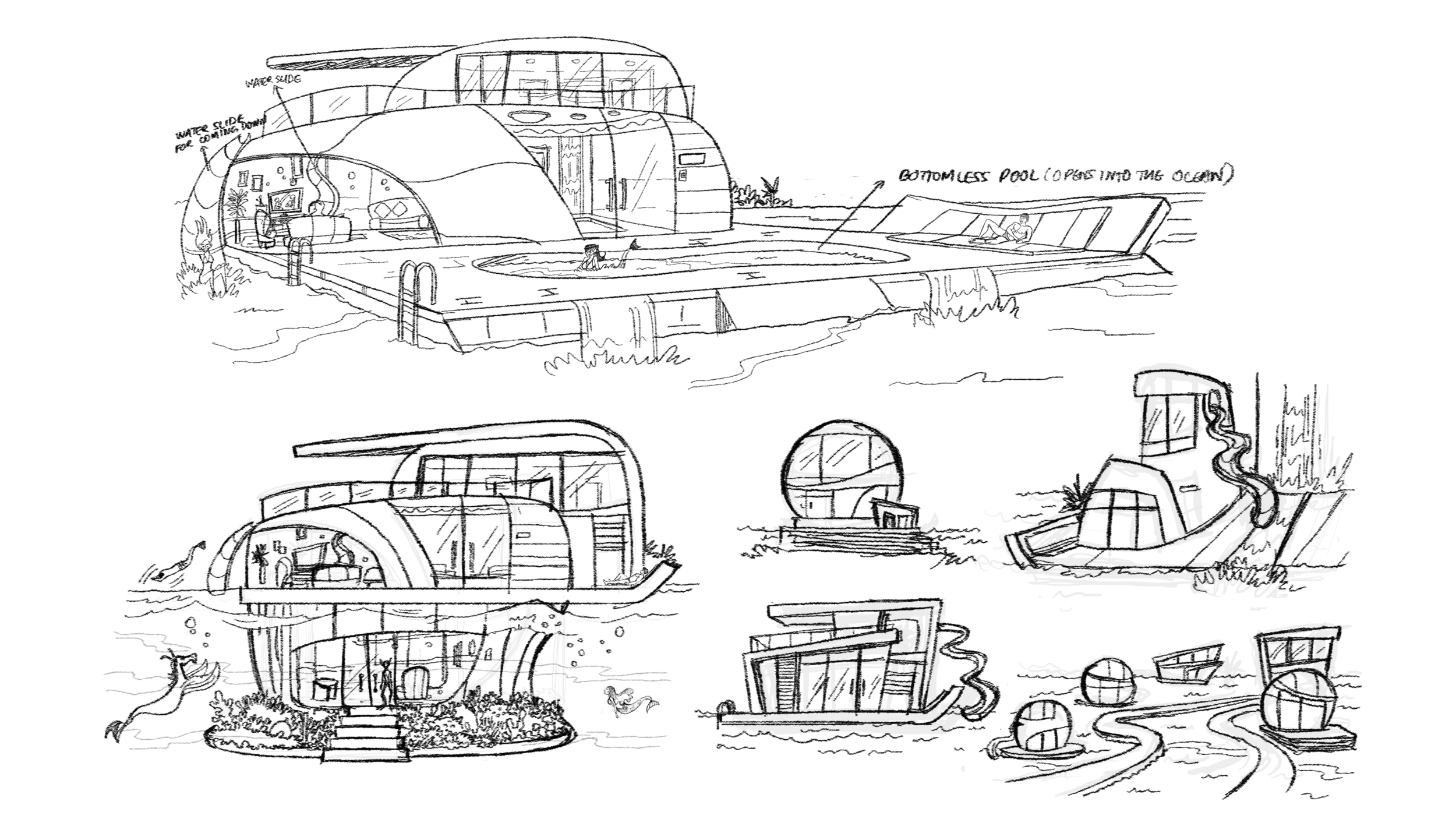 Houses for water creatures: Explorations