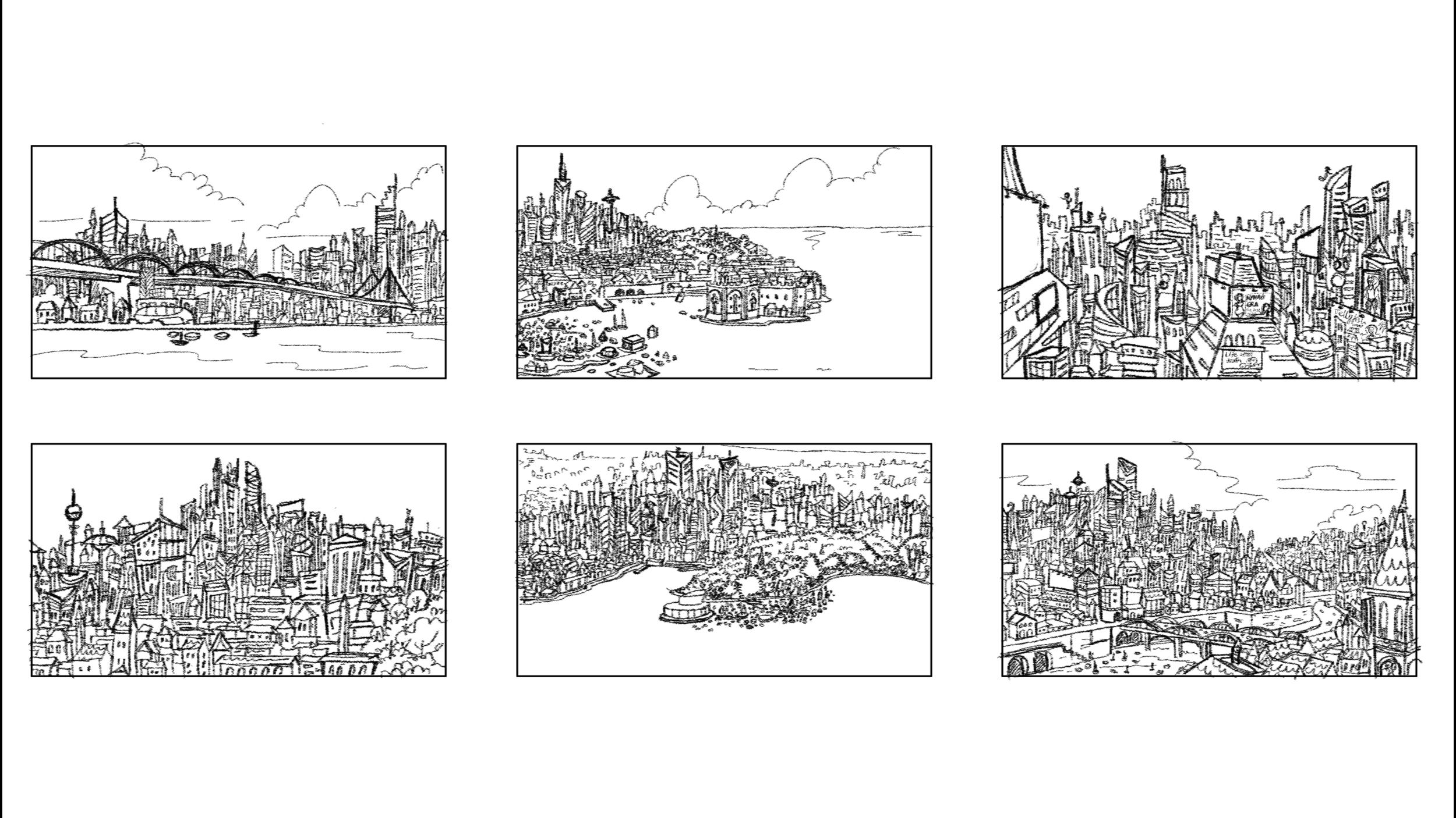 City establishing shot: Explorations