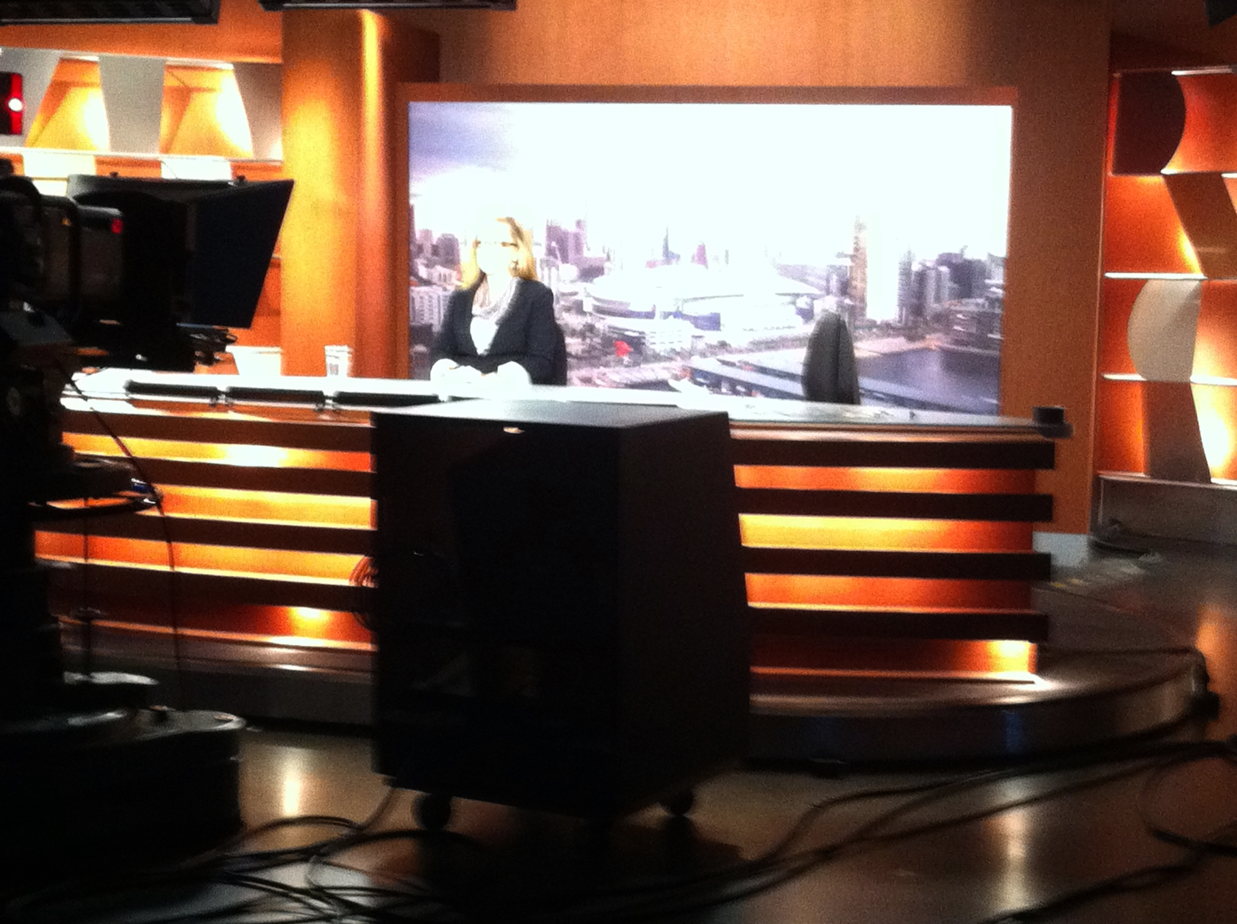 Ready for her live cross on the afternoon news